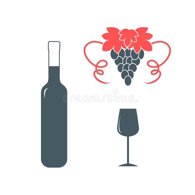 Free Stylized Icon Of A Colored Bottle Of Wine, Wine Glass And Grapes Stock Photo - 119720980
