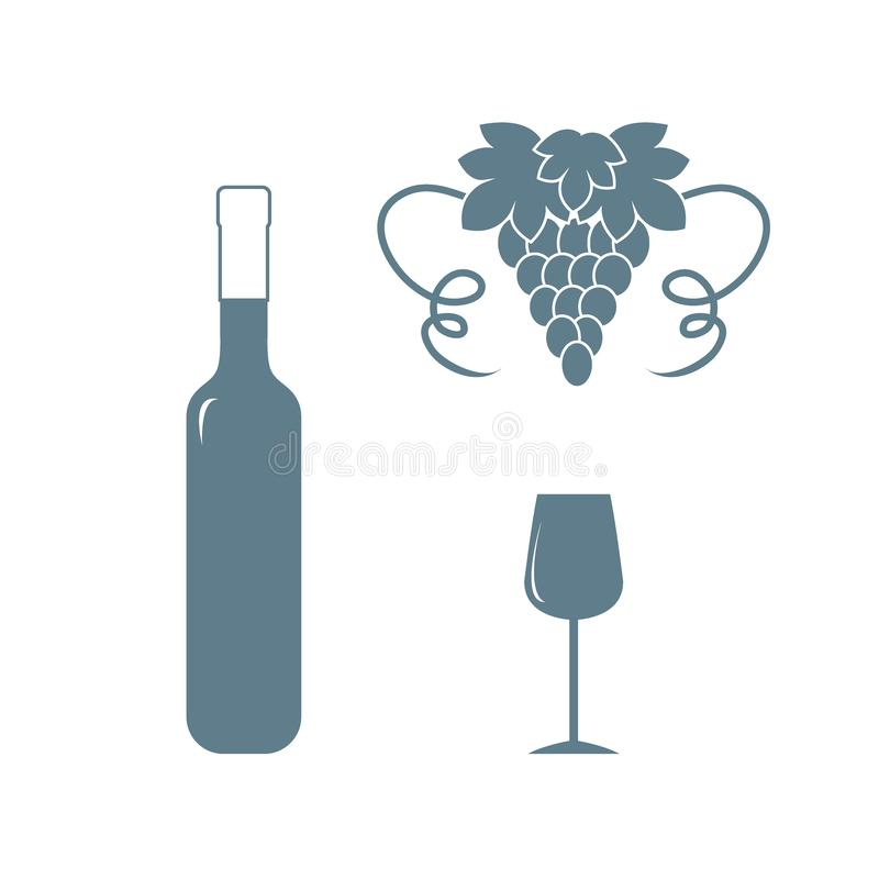 Free Stylized Icon Of A Colored Bottle Of Wine, Wine Glass And Grapes Royalty Free Stock Images - 126183859