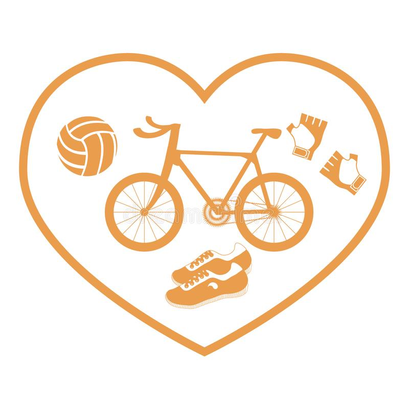 Stylized Icon Symbolizing Love For Sport Inside The Heart Of Th Stock Vector Illustration Of Bicycle Race 119551366