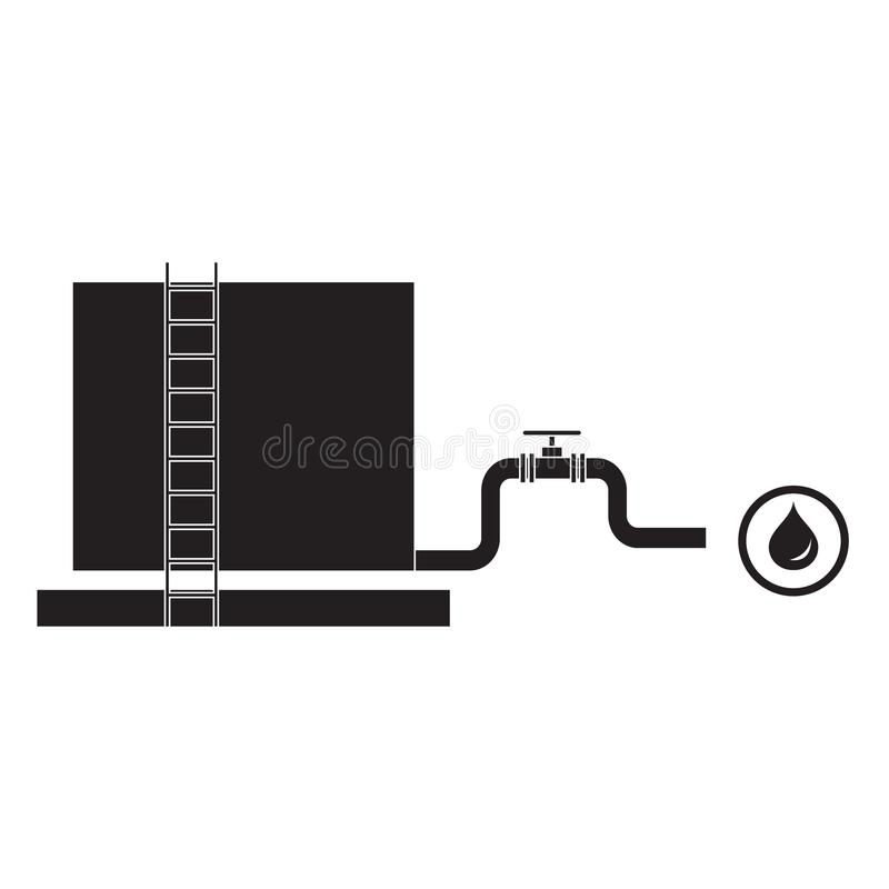 Stylized icon of the tank with oil and a pipe with a valve. On a white background stock illustration