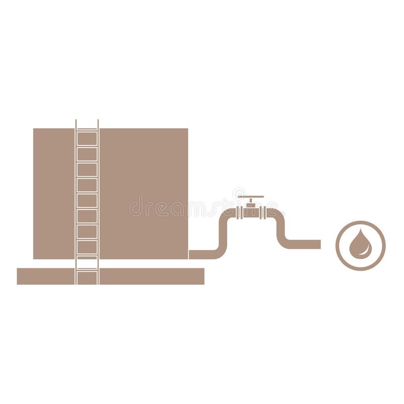 Stylized icon of the tank with oil and a pipe with a valve. On a white background vector illustration