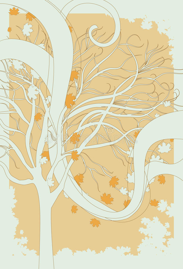Stylized Illustrated Fall Background. Illustration of fall leaves blowing through a bare tree. All elements are on separate layers. Leaf border elements are not stock illustration