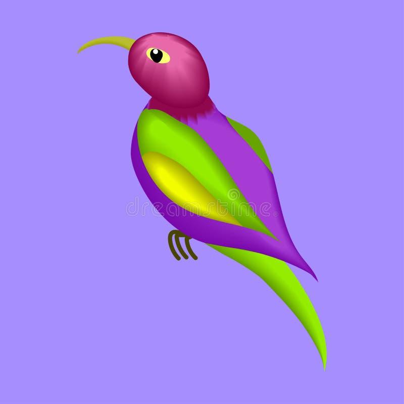 Stylized illustration, image of a small bird, Hummingbird. Animated game character stock illustration