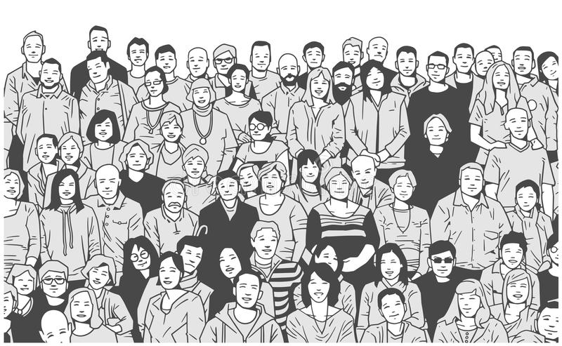 Stylized illustration of large group of people smiling and posing for a photograph in black and white grey scale. Illustration of large group of people posing stock illustration