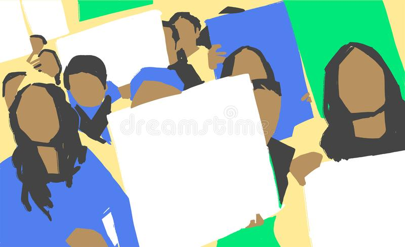 Stylized illustration painting of women protest march with blank signs in color royalty free stock photography