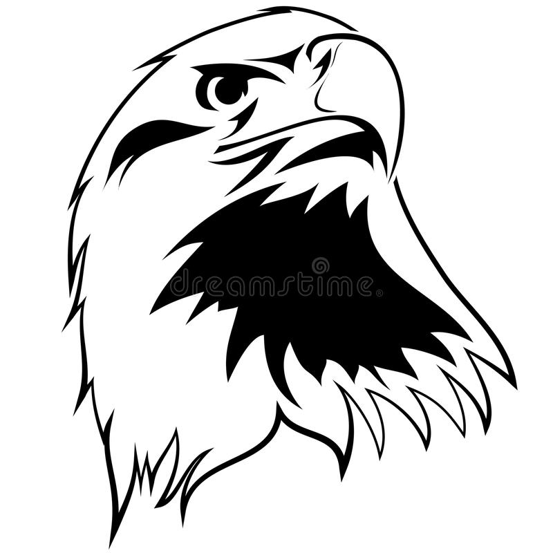 Stylized image of an eagle. Black and white tattoo royalty free illustration