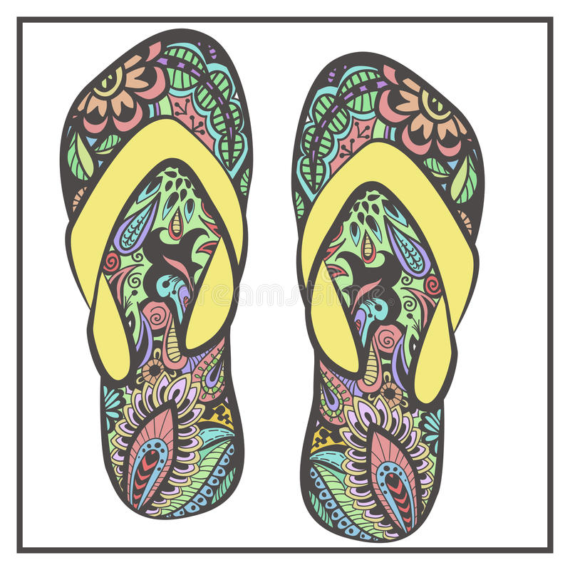Stylized image of patterned pair of flip flops royalty free illustration
