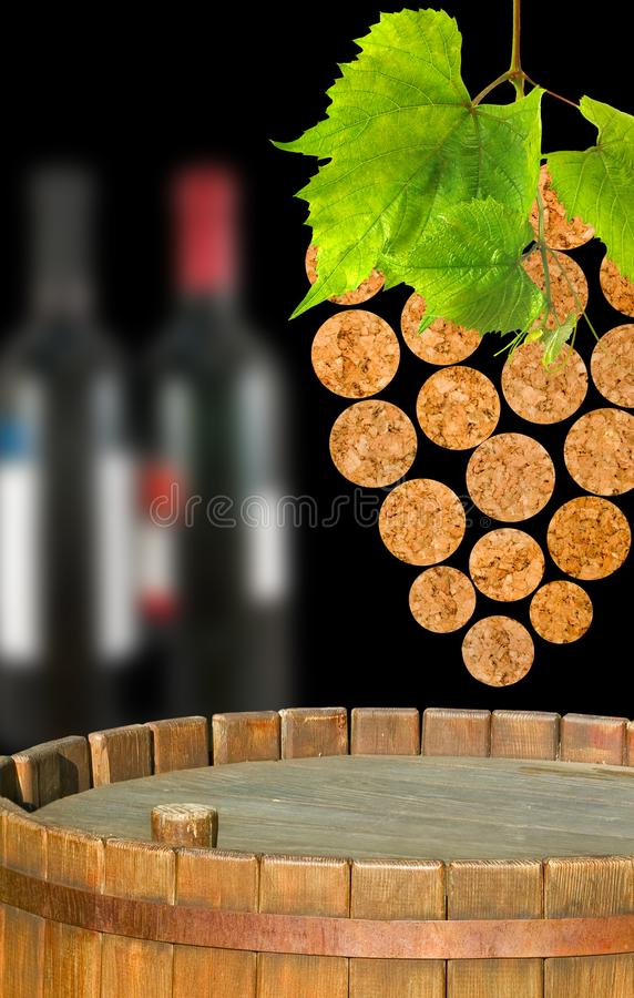 stylized image of the vine and barrels of wine close-up stock photos