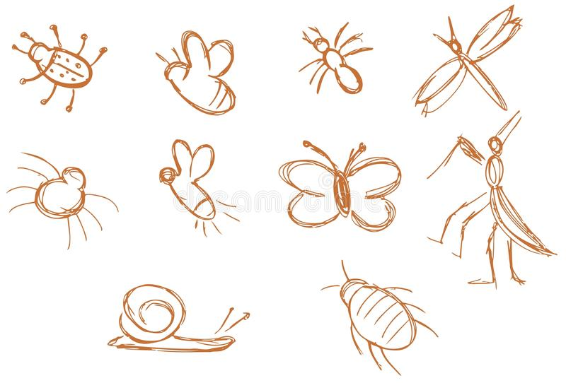 Stylized insects stock illustration