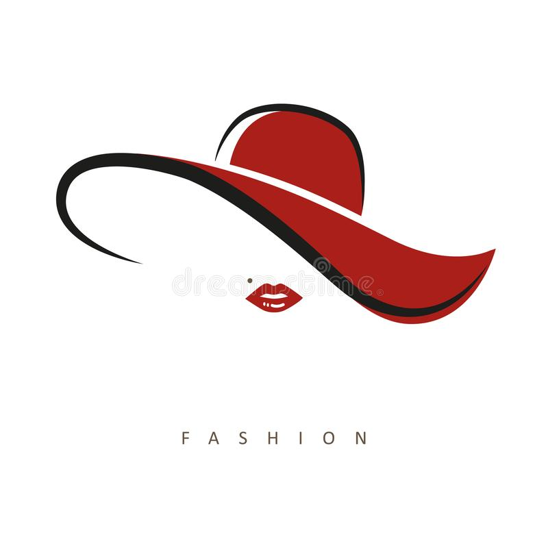 Free Stylized Lady With Red Hat And Red Lips Royalty Free Stock Images - 153257319