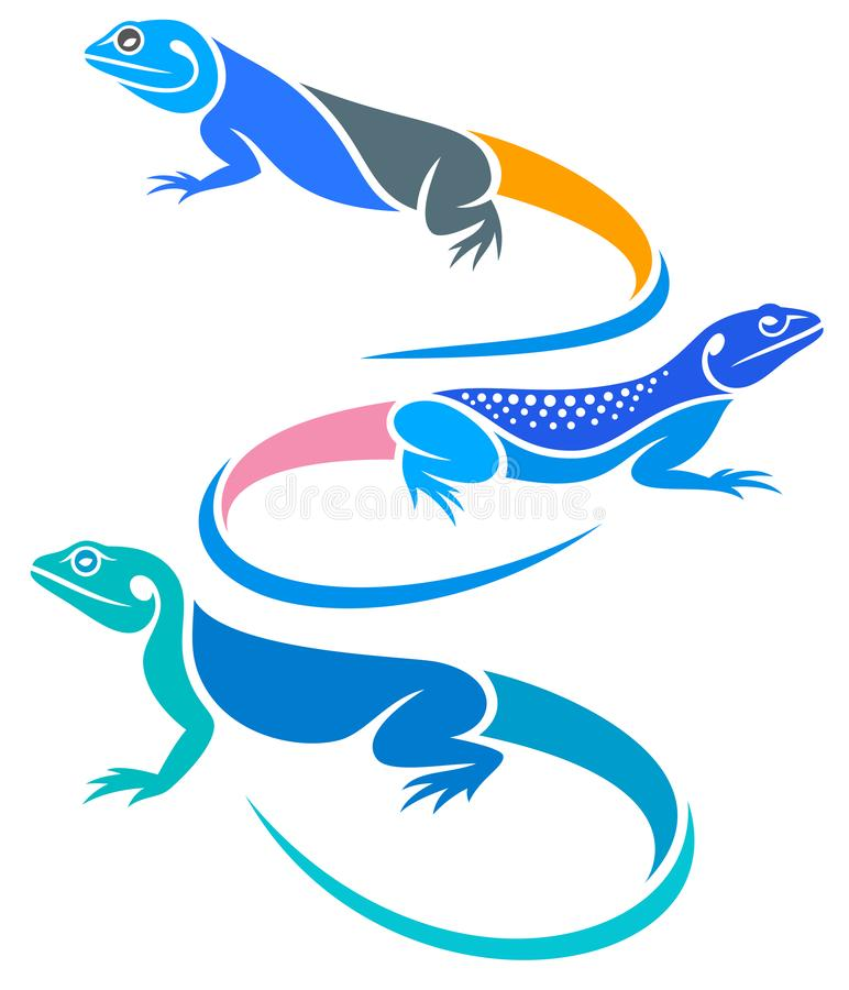 Stylized Lizards - Agamas. Vector illustration royalty free illustration