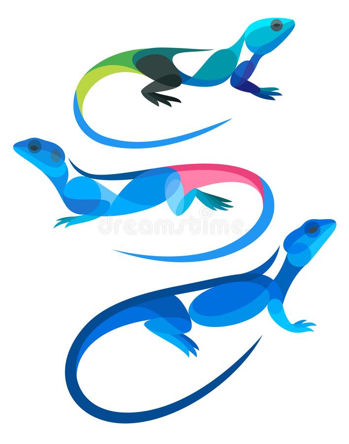 Stylized Lizards - Agamas. Vector illustration vector illustration