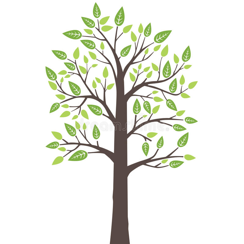 Stylized lone tree with fresh young leaves vector illustration