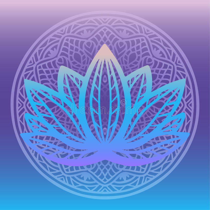 Stylized lotus flower logo in shades of blue and purple framed with round floral mandala on gradient background Hand drawn fantasy. Design for tattoo, fabric stock illustration