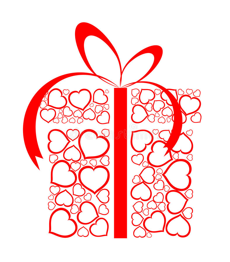 Free Stylized Love Present Box Made From Red Hearts Royalty Free Stock Image - 12582446