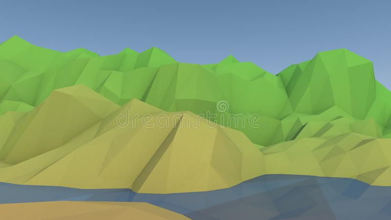 Low Poly Mountain Lake Landscape stock illustration