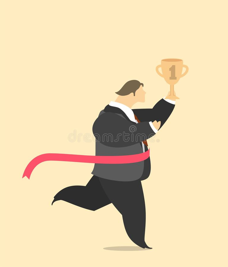 Stylized man runs with the cup stock illustration