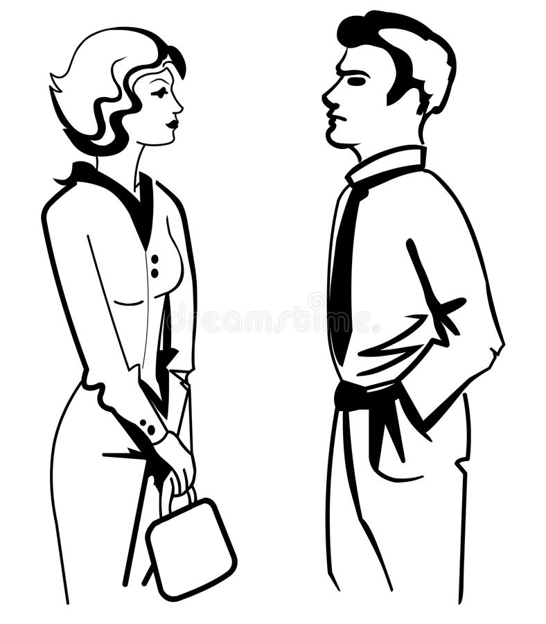 Stylized Man and Woman silhouettes stock illustration