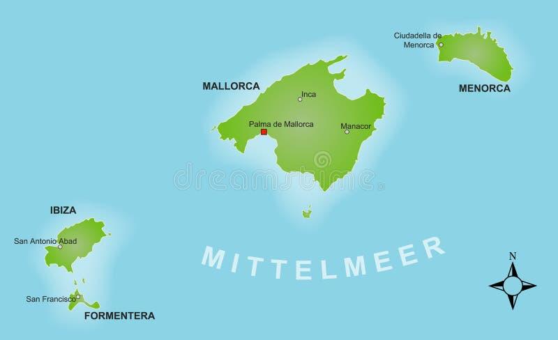 Download Stylized Map Of The Balearics Stock Image - Image of border, minorca: 16719825