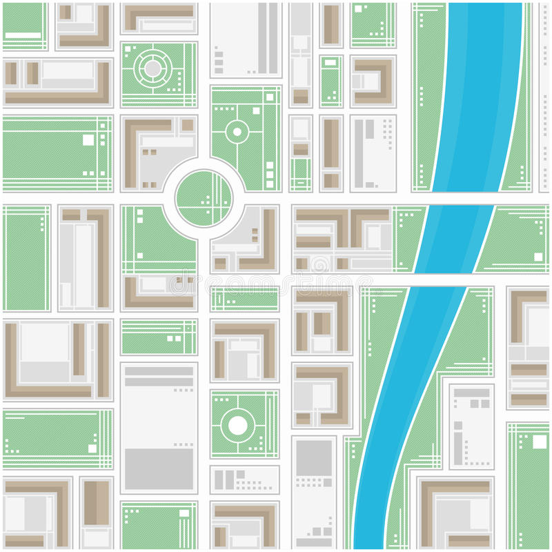 Stylized map of the city. A generic city map of an imaginary city. Editable vector street map of a fictional generic town. Vector city map with typical locations royalty free illustration