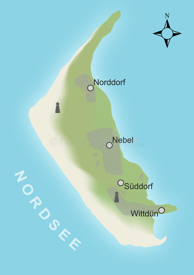 Stylized Map Of The German Island Amrum Stock Images