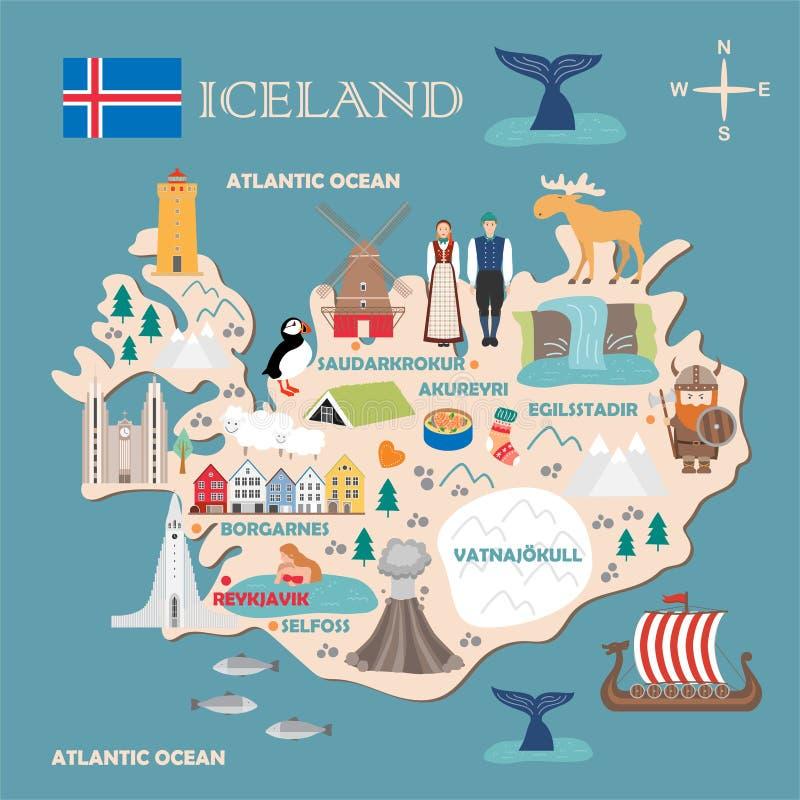 Stylized map of Iceland. Travel illustration with icelandic landmarks, architecture, national flag, and other symbols in flat style. Vector illustration stock illustration