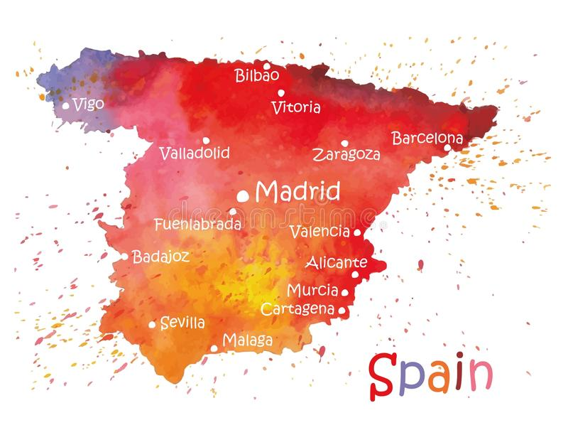 Stylized map of Spain stock illustration