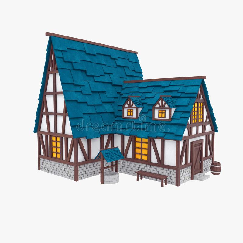 Stylized medieval house. Tudor architecture royalty free illustration