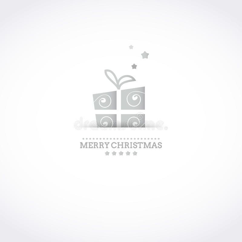 Stylized Merry Christmas card with holiday gift bo. Stylized Merry Christmas card with silver holiday gift box