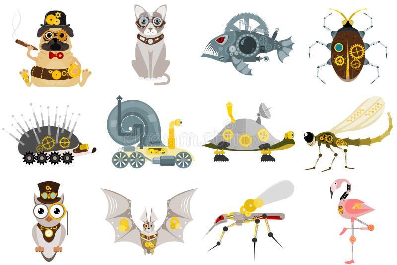Stylized metal steampunk mechanic robots animals machine steam gear insect punk art machinery vector illustration. stock illustration