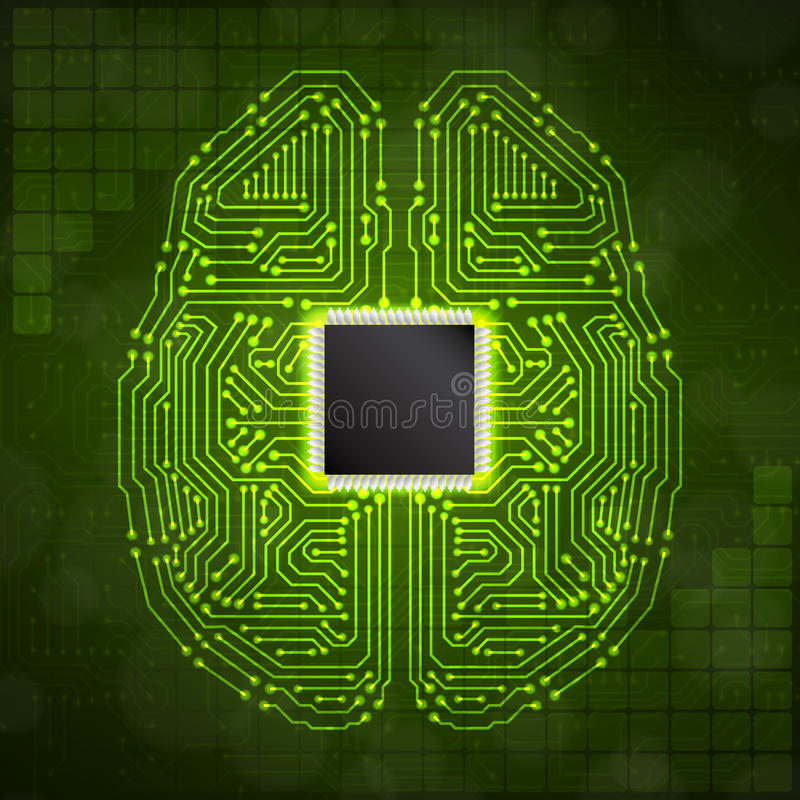 Stylized mind. Brain with circuit board texture. Digital concept. Digitaly background. EPS10 vector vector illustration
