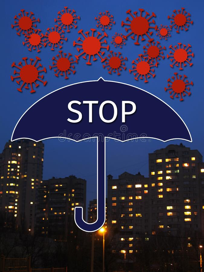 Stylized molecules of the coronavirus Covid fall like snow, they are blocked by the umbrella with the inscription - Stop. royalty free stock photo