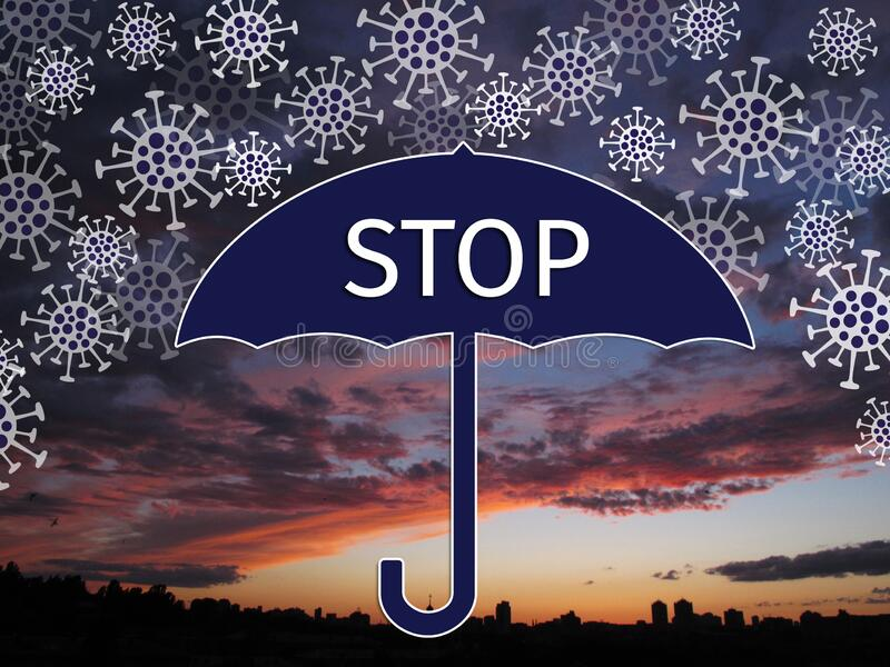 Stylized molecules of the coronavirus Covid fall like snow, they are blocked by the umbrella with the inscription - Stop stock photography