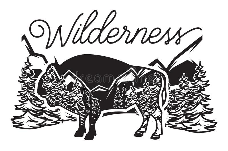 Stylized monochrome vector illustration with bison and forest.  royalty free illustration