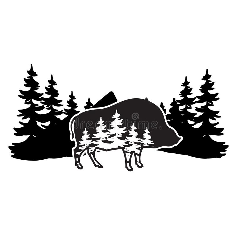 Stylized monochrome vector illustration with boar and forest.  stock illustration