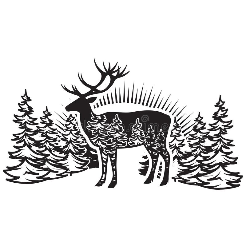 Stylized monochrome vector illustration with deer and forest.  vector illustration