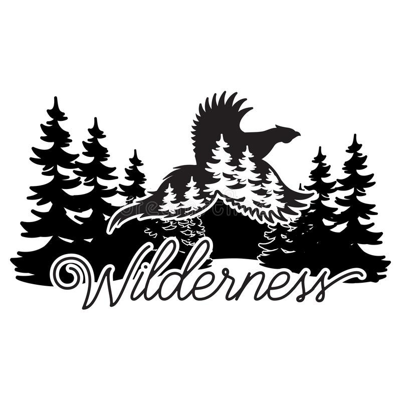 Stylized monochrome vector illustration with pheasant and forest.  stock illustration