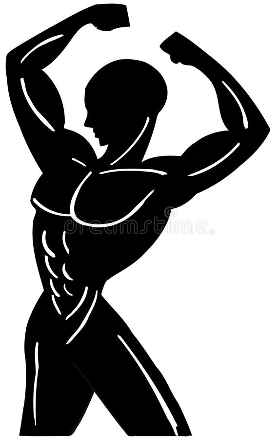 Download Stylized Muscular Man In Black Isolated Stock Illustration - Image: 38817042