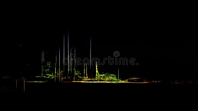 Stylized oil refinery by night vector illustration