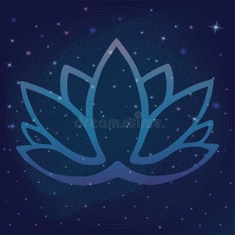 Stylized outline lotus flower logo in shades of blue and purple framed on starry night sky galactic space background Hand drawn fa royalty free illustration