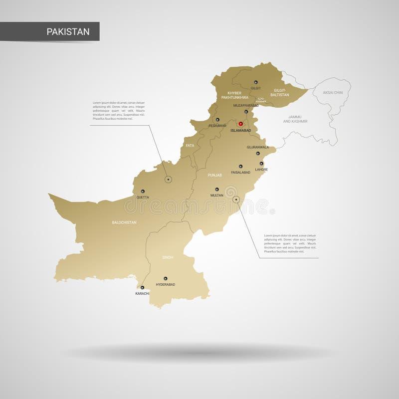 Stylized Pakistan map vector illustration. stock illustration