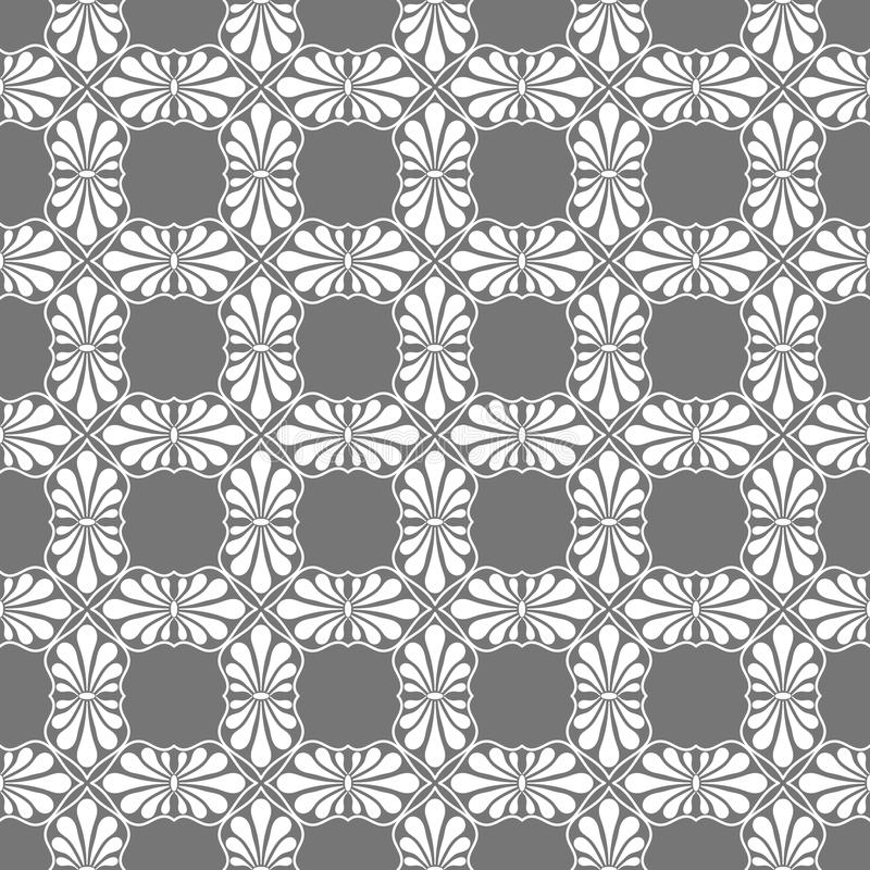 Stylized Grey Tiles Seamless Texture. Stylized palm leaf tiles on square distribution. Classical radiating motif, common in Egyptian, Greek and Assyrian ancient vector illustration