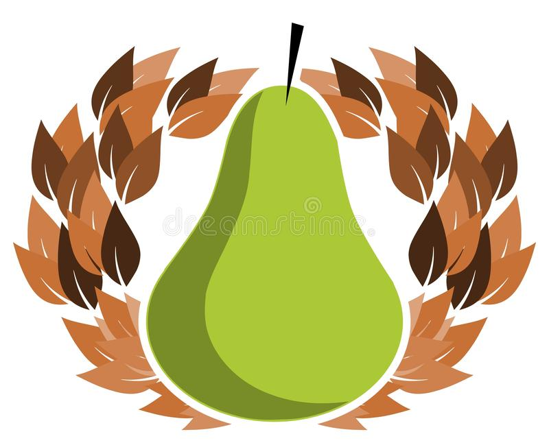 Stylized pear with crown of leaves, Illustration in green, isolated. A simple but elegant image whose main subject is a stylized pear. This image can be used royalty free illustration