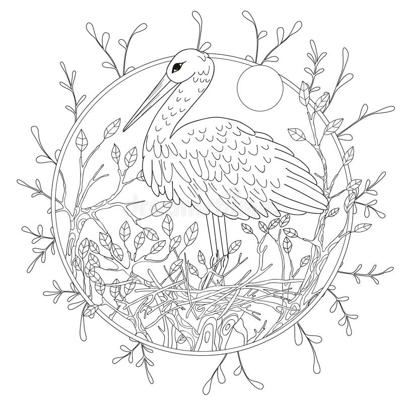 Stylized pelican bird among foliage. Freehand sketch for adult anti stress coloring book page.  stock illustration