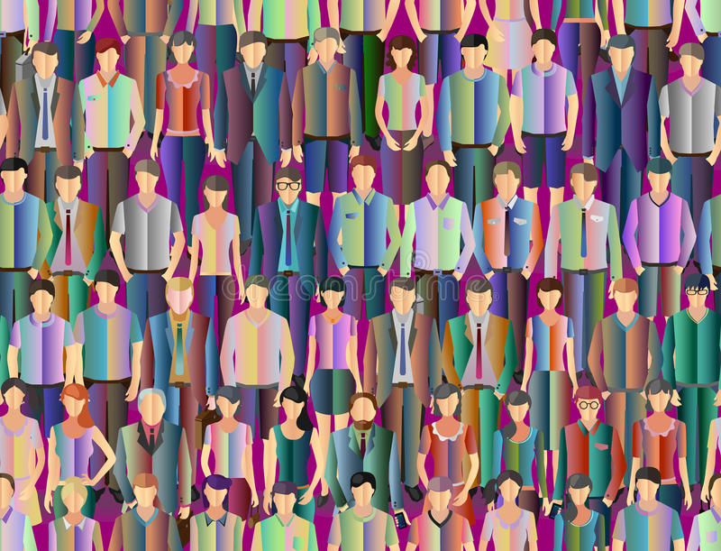 Stylized people background. Seamless stylized people background with crowd of different casual people vector illustration