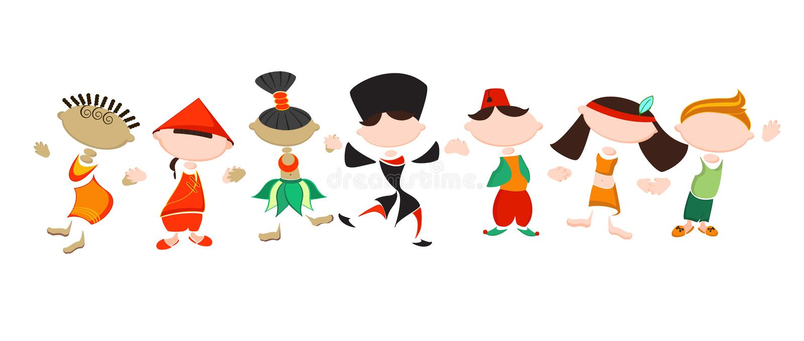 Stylized people in national costumes. Funny stickers of different nationality people. Friendship of Peoples. Traditional costumes. Concept of tolerance royalty free illustration