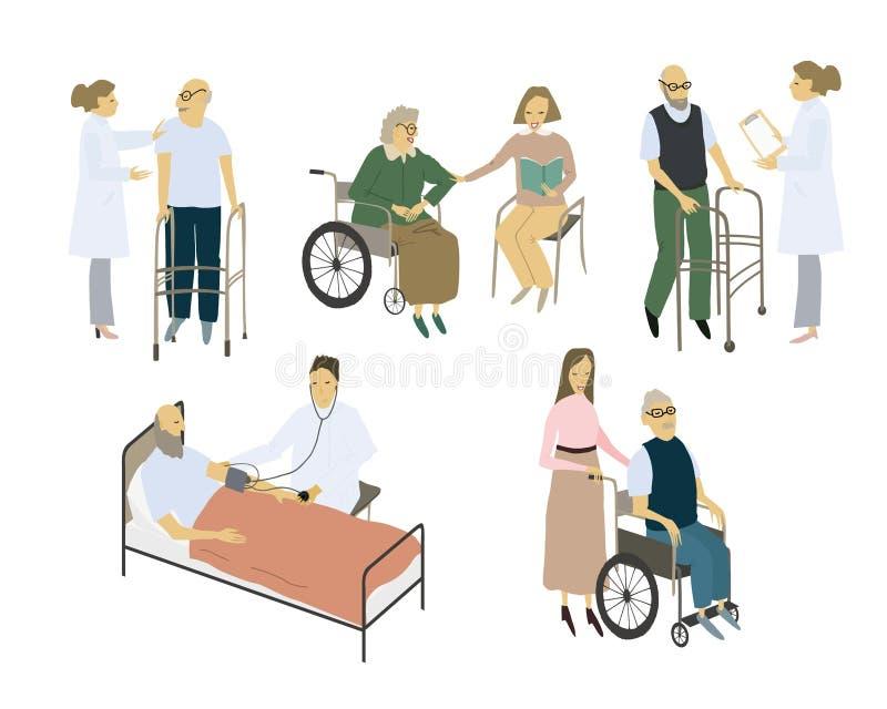 Stylized people set. Care for the elderly. Vector flat illustration. Vector flat illustration. Stylized people set. Care for the elderly royalty free illustration