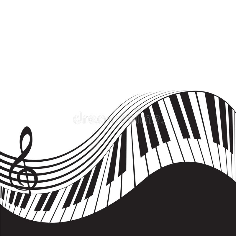 Stylized piano keys and stave vector illustration