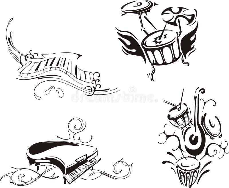 Stylized piano och slagverk royaltyfri illustrationer