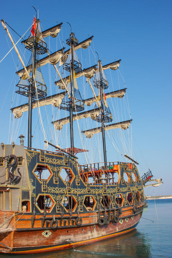 Stylized pirate ship 1. Stylized decorated pirate ship in Didim city, Turkey stock image